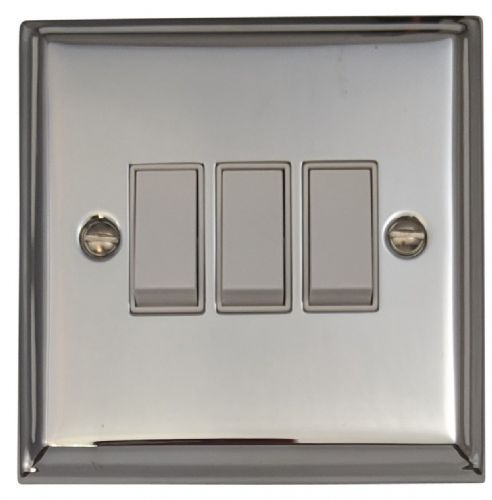 G&H DC3W Deco Plate Polished Chrome 3 Gang 1 or 2 Way Rocker Light Switch